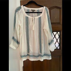 Tommy Bahama sheer peasant blouse